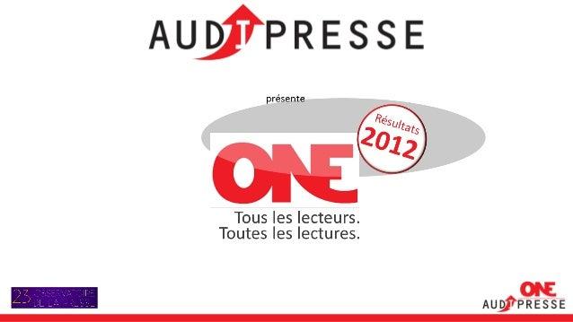 L'année presse 2012, le rapport One Audipress