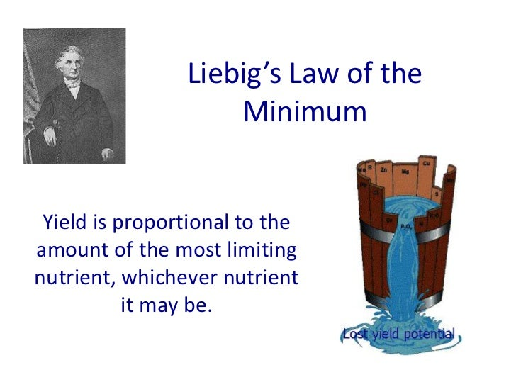 Liebig's Law of the                    Minimum Yield is proportional to theamount of the most limitingnutrient, whichever ...