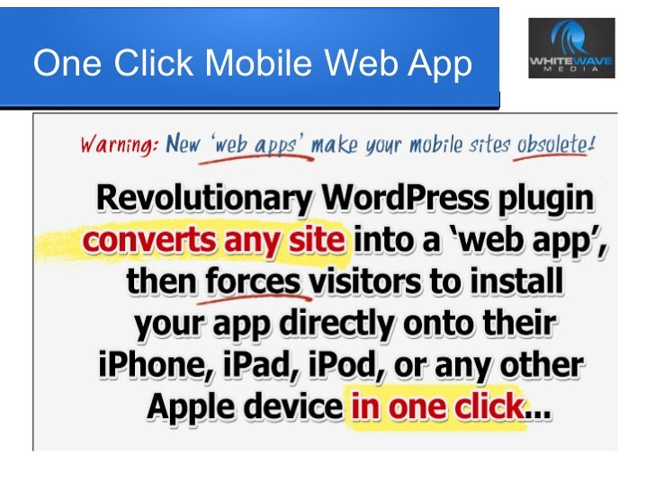 One Click Mobile Web App