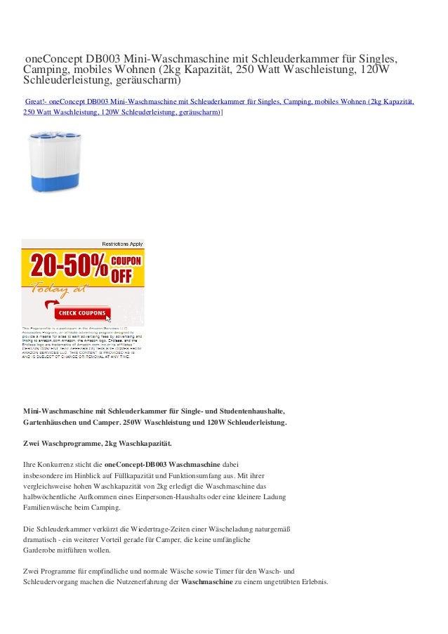 oneConcept DB003 Mini-Waschmaschine mit Schleuderkammer für Singles,Camping, mobiles Wohnen (2kg Kapazität, 250 Watt Wasch...