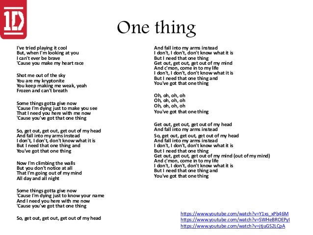 Songtext von One Direction - One Thing Lyrics
