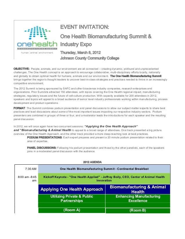 EVENT INVITATION:                                       One Health Biomanufacturing Summit &                              ...