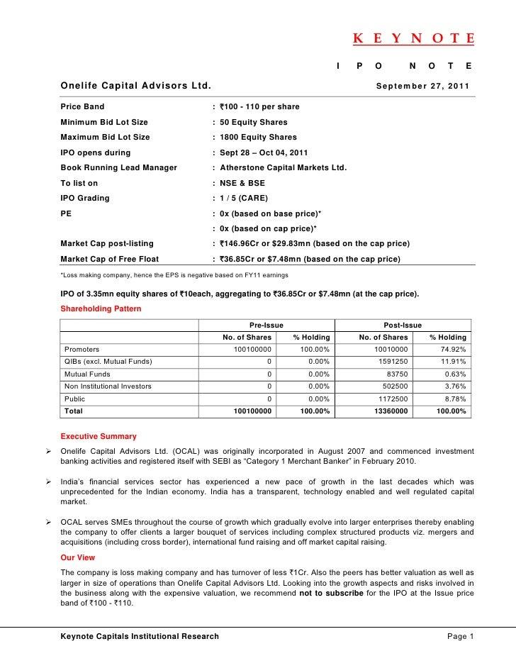 Onelife Capital Advisors IPO Note (Keynote Capitals)