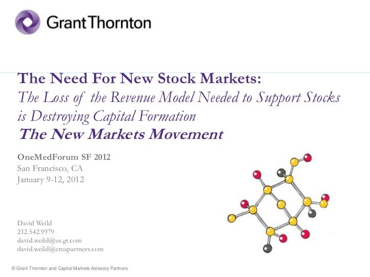 The Need For New Stock Markets:  The Loss of the Revenue Model Needed to Support Stocks  is Destroying Capital Formation  ...