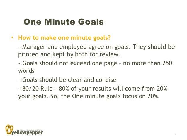 the one minute goal setting
