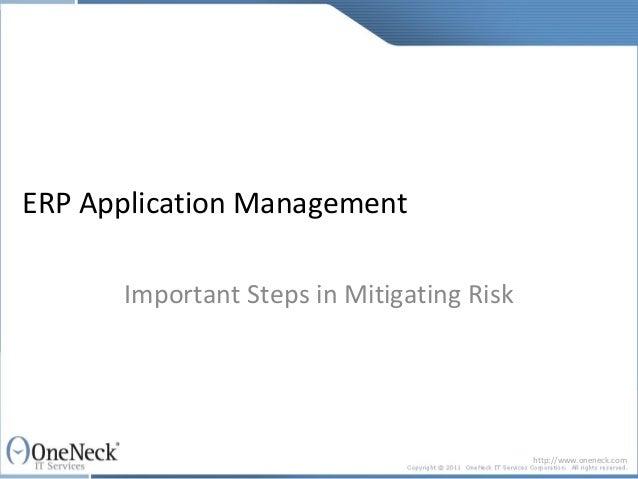 ERP Application Management: Important Steps in Mitigating Risk