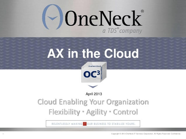 1 Copyright © 2013 OneNeck IT Services Corporation. All Rights Reserved. Confidential.AX in the CloudApril 2013Cloud Enabl...