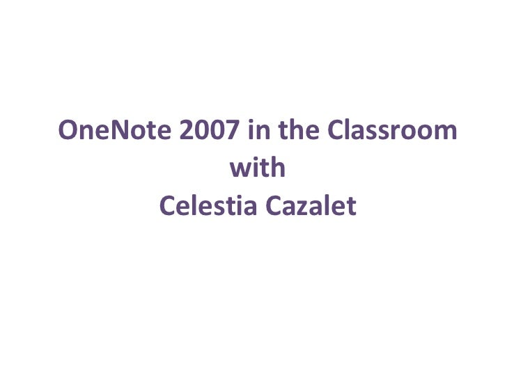 One Note 2007 In The Classroom[1]