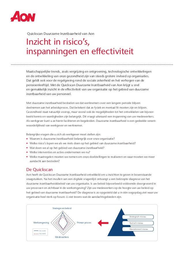 Inzicht in risico's, inspanningen en effectiviteit Quickscan Duurzame Inzetbaarheid van Aon Maatschappelijke trends, zoals...