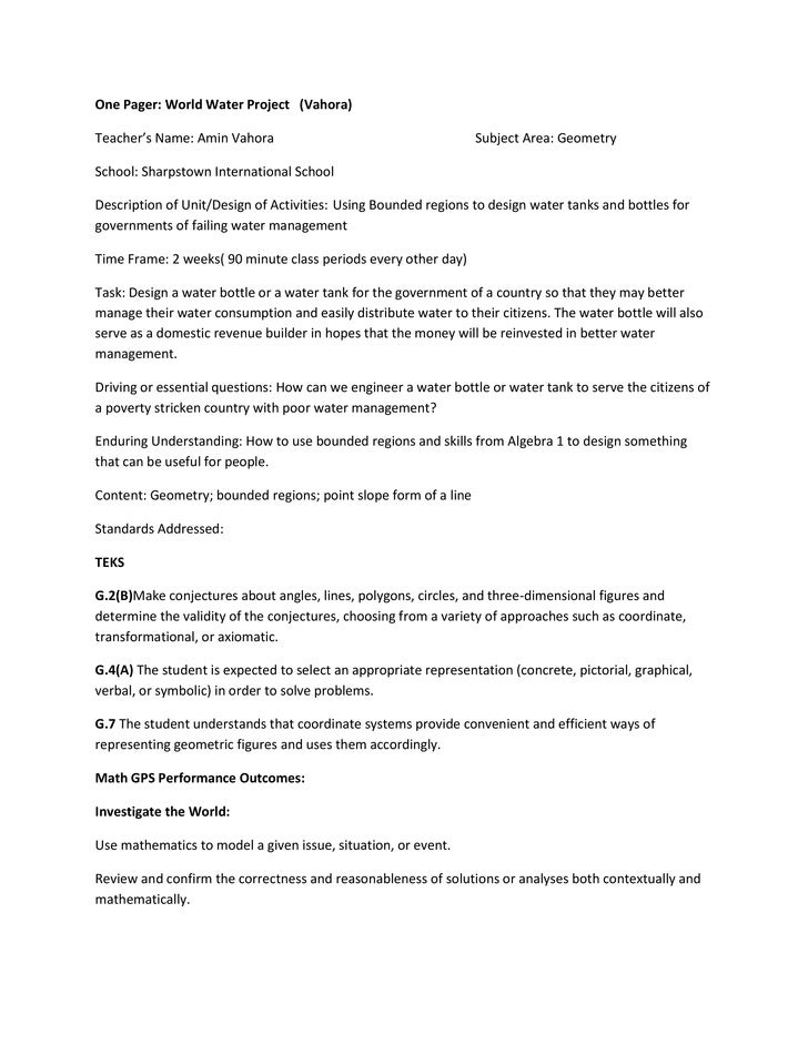 One Pager: World Water Project (Vahora)Teacher's Name: Amin Vahora                                      Subject Area: Geom...