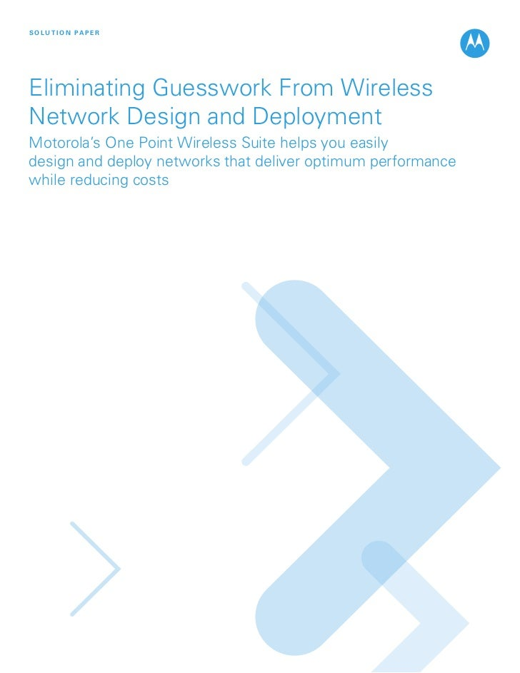 One point wireless suite design & deploy solution paper web_2.09