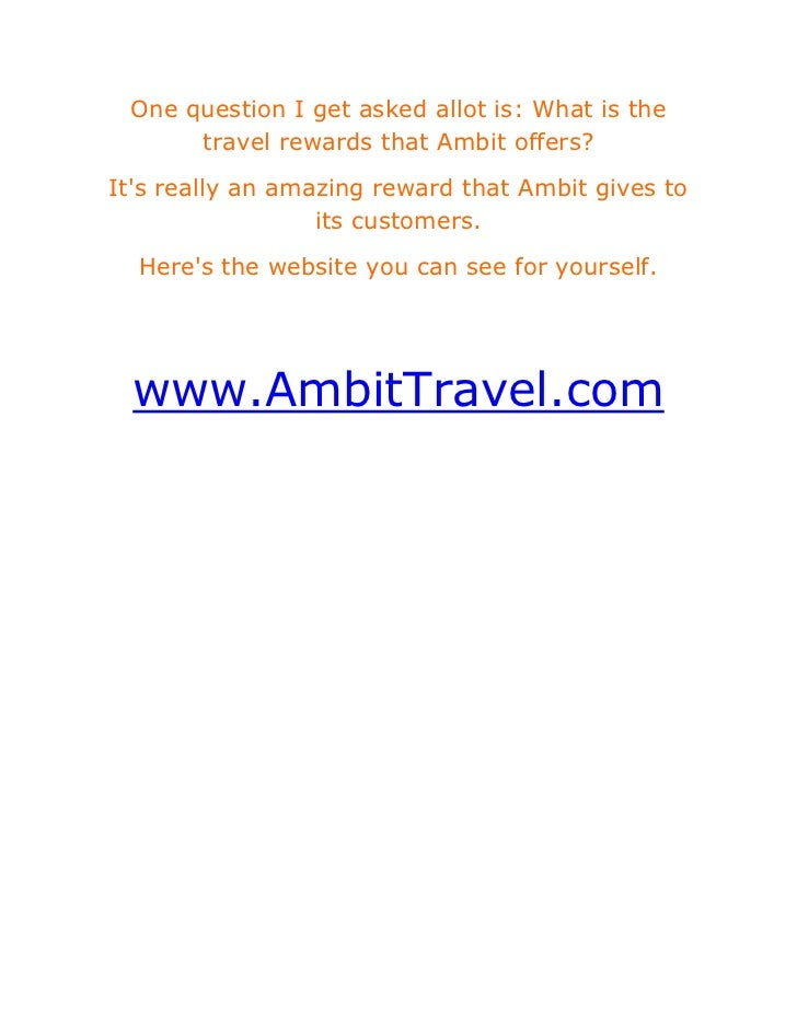 One question I get asked allot is: What is the travel rewards that Ambit offers?<br />It's really an amazing reward that A...