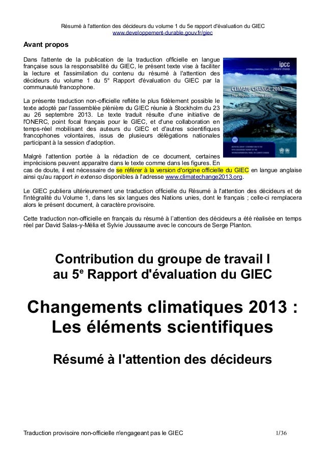 Résumé à l'attention des décideurs du volume 1 du 5e rapport d'évaluation du GIEC www.developpement-durable.gouv.fr/giec  ...