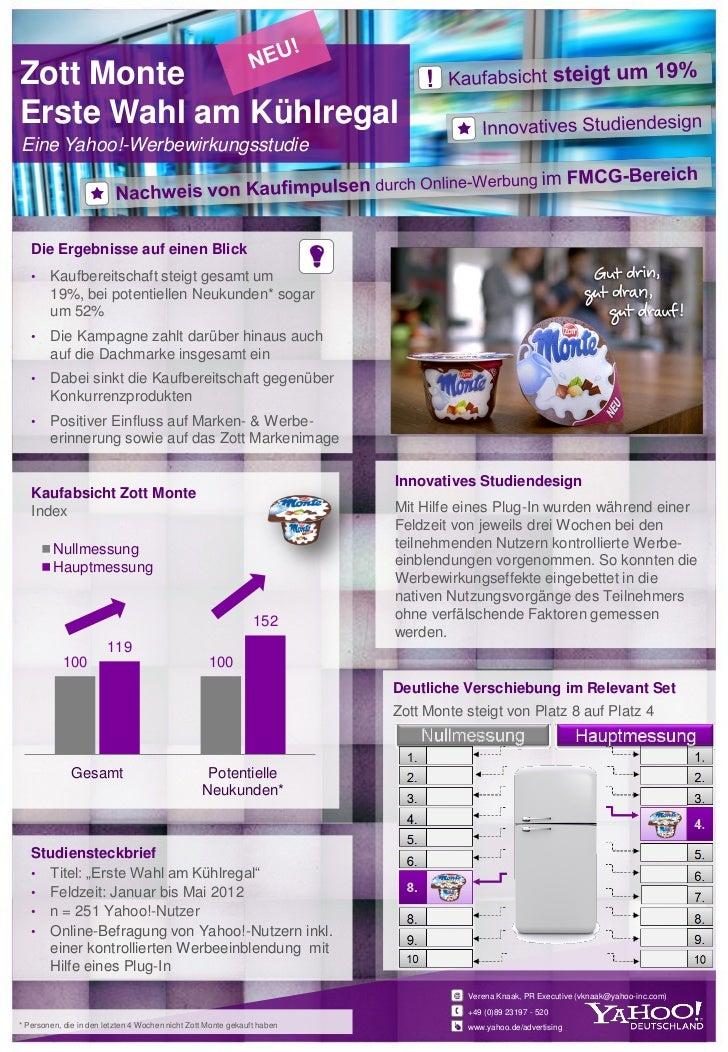 Zott MonteErste Wahl am KühlregalEine Yahoo!-Werbewirkungsstudie   Die Ergebnisse auf einen Blick   •    Kaufbereitschaft ...