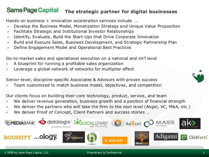 The strategic partner for digital businesses Hands-on business + innovation acceleration services include …  Develop the ...
