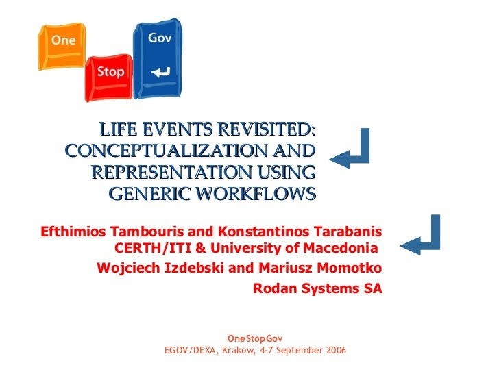 LIFE EVENTS REVISITED: CONCEPTUALIZATION AND REPRESENTATION USING GENERIC WORKFLOWS Efthimios Tambouris and Konstantinos T...