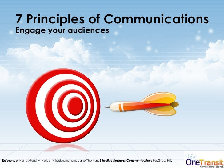 7 Principles of Communications  Engage your audiences Reference:  Herta Murphy, Herber Hildebrandt and Jane Thomas,  Effec...