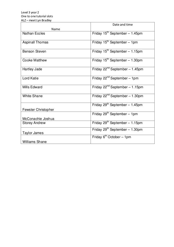 One to one rota   Lyn September 2012