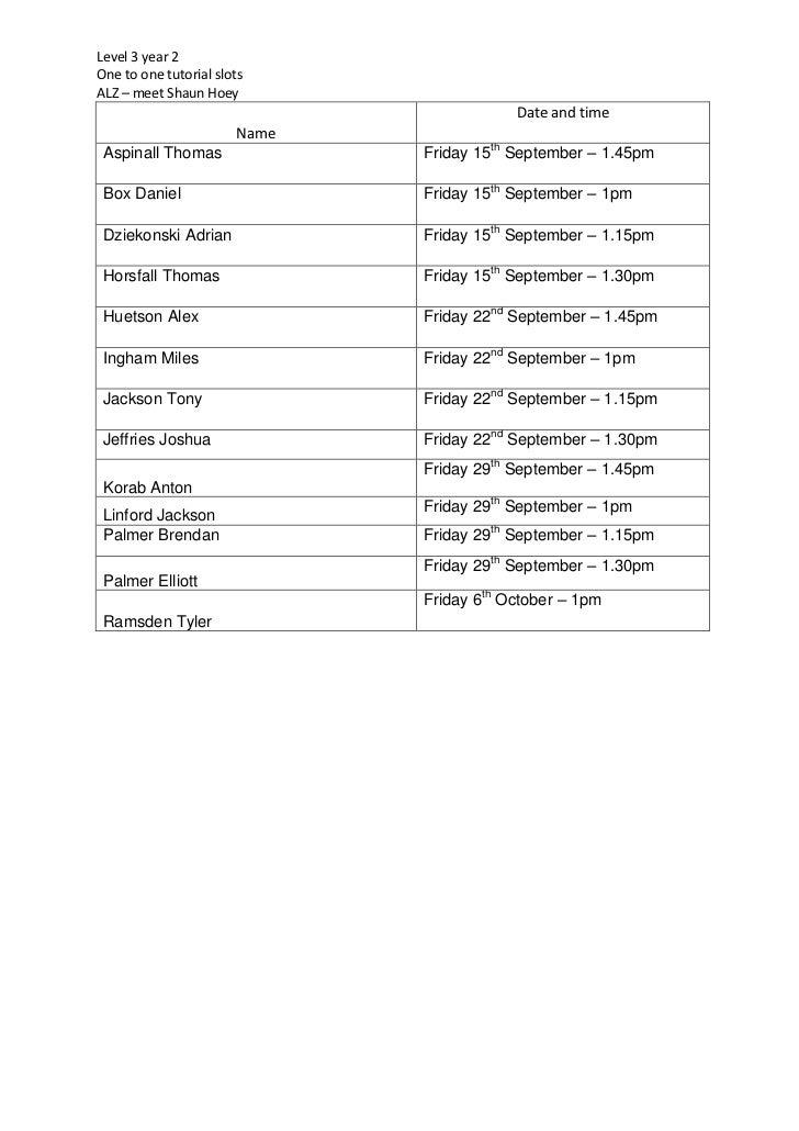 One to one rota  Shaun  september 2012