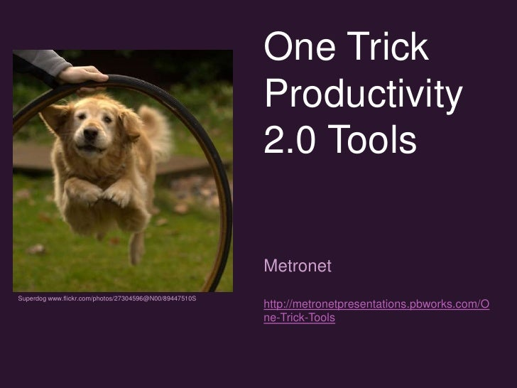 One Trick Productivity 2.0 Tools<br />Metronet<br />http://metronetpresentations.pbworks.com/One-Trick-Tools<br />Superdog...