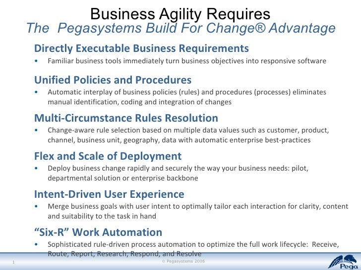 Business Agility Requires The  Pegasystems Build For Change® Advantage <ul><li>Directly Executable Business Requirements <...