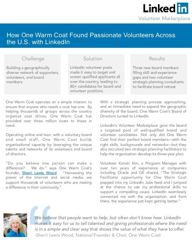 One Warm Coat and the Volunteer Marketplace