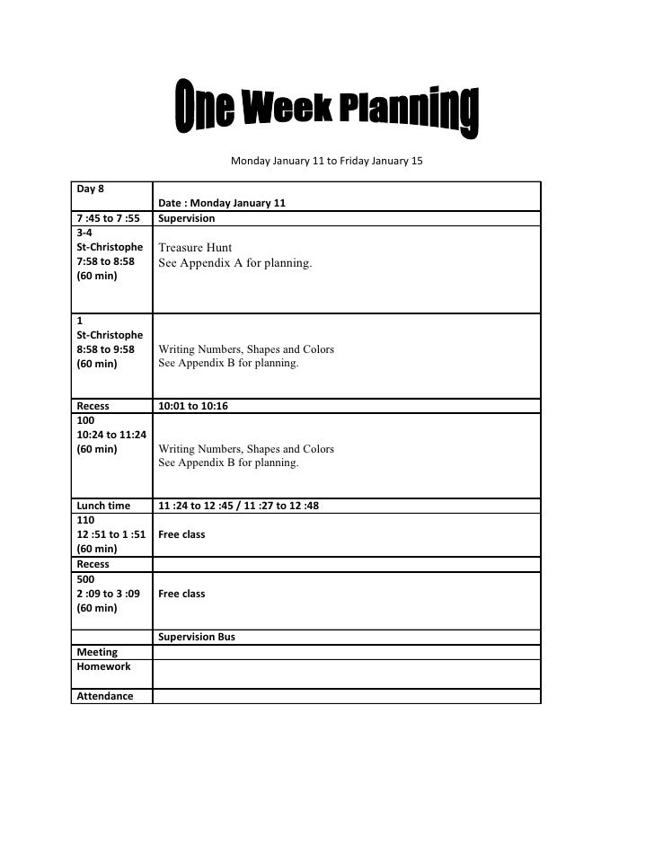 One Week Planning