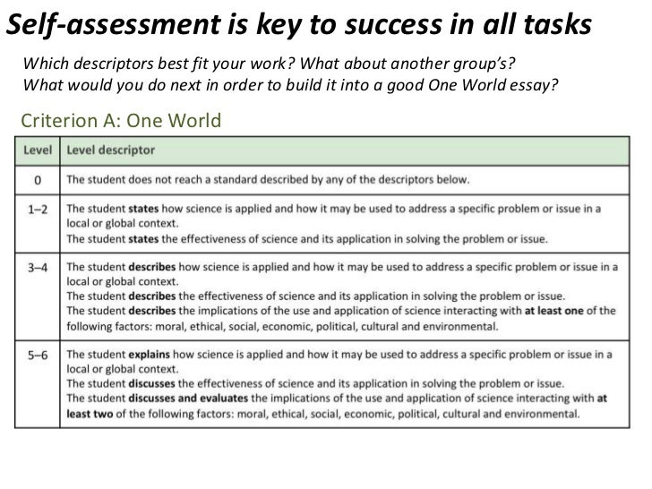 science one world essay Ib myp one world essay help sheet how well does the science solve the problem body: choose one of these structures to follow one world essay.