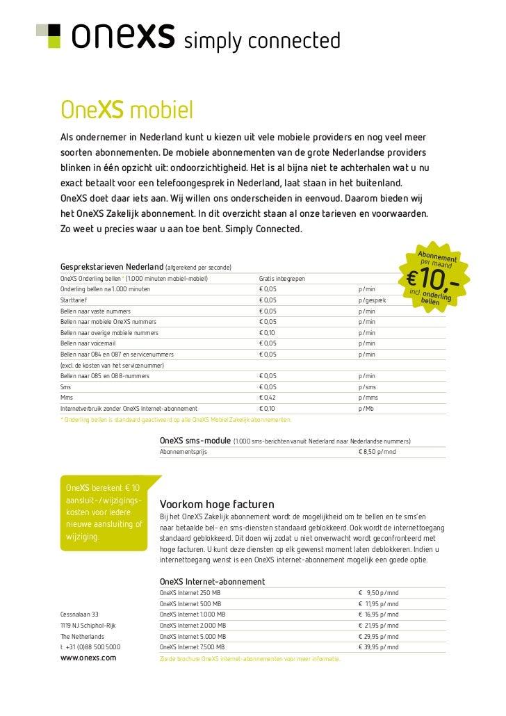 OneXS Mobiel Zakelijk Abonnement
