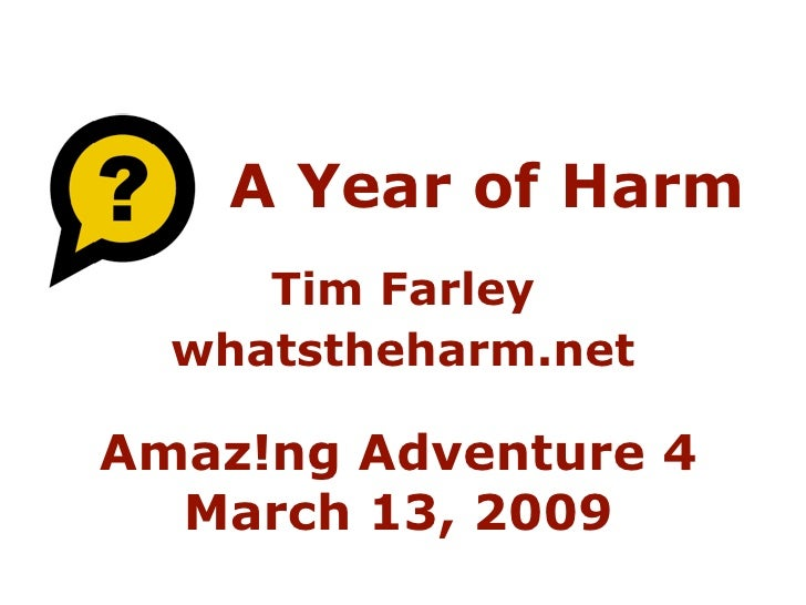 A Year of Harm      Tim Farley   whatstheharm.net  Amaz!ng Adventure 4   March 13, 2009
