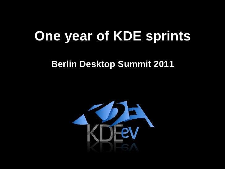 One year of KDE sprints Berlin Desktop Summit 2011
