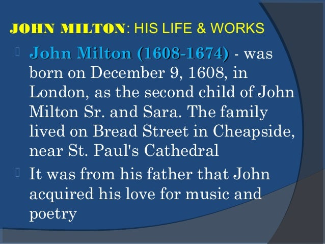 "allusions to his blindness in on his blindness a poem by john milton Read full text and annotations on on his blindness text of the poem at ""mild yoke"" is an allusion to on his blindness"" and we know that milton went."