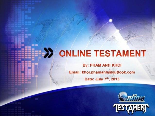 Online Testament - Pham Anh Khoi