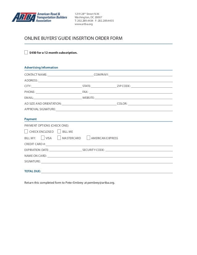 Online buyers'guide-form