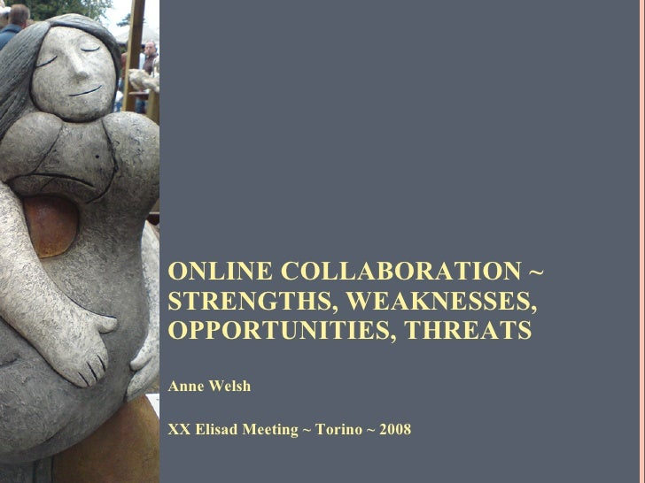 ONLINE COLLABORATION ~  STRENGTHS, WEAKNESSES, OPPORTUNITIES, THREATS <ul><li>Anne Welsh </li></ul><ul><li>XX Elisad Meeti...