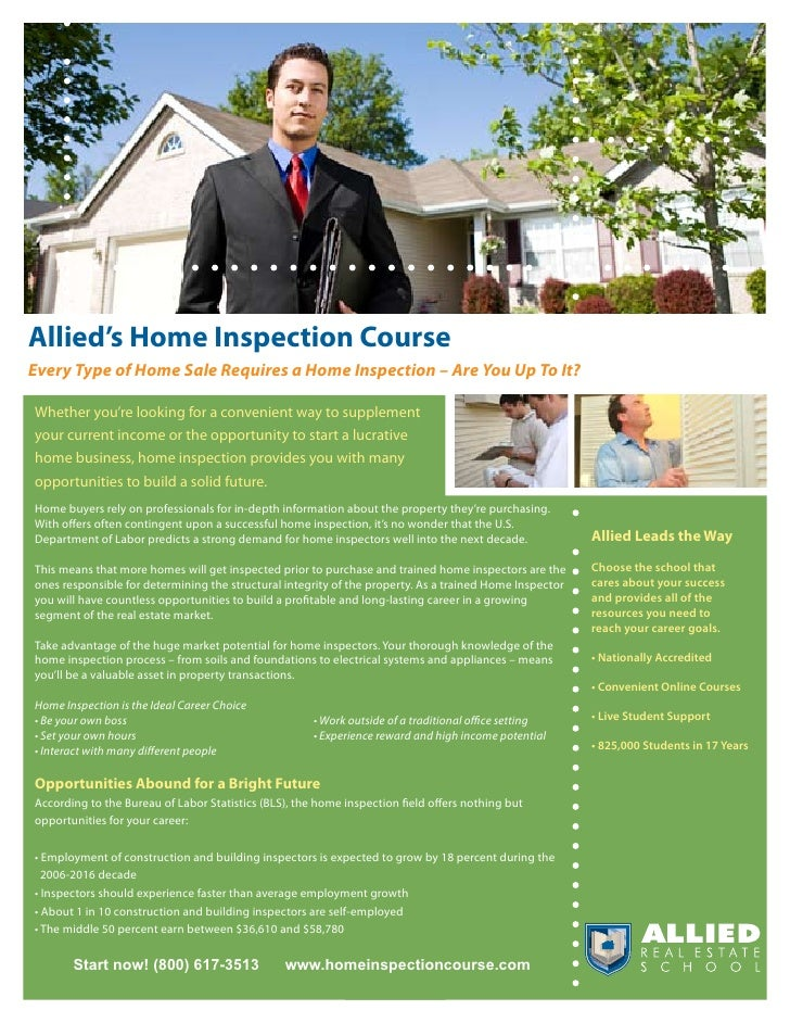 Allied's Home Inspection Course Every Type of Home Sale Requires a Home Inspection – Are You Up To It?  Whether you're loo...