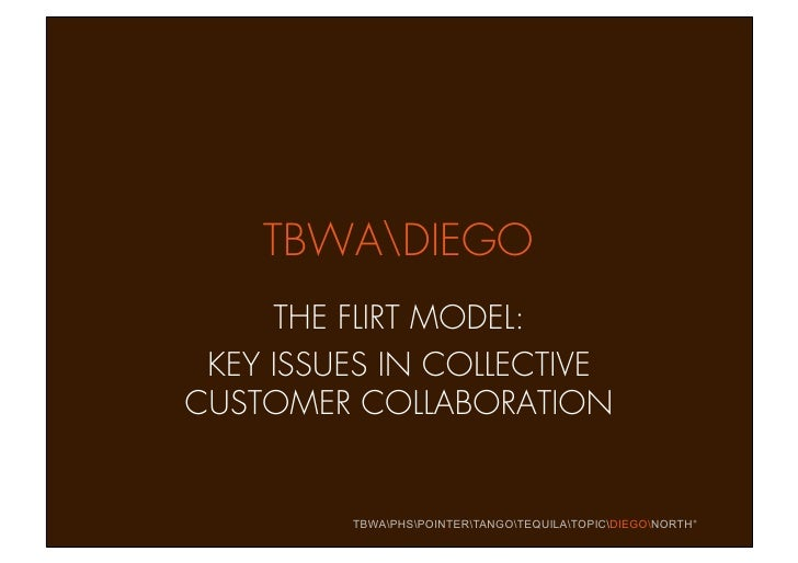 TBWADIEGO      THE FLIRT MODEL:  KEY ISSUES IN COLLECTIVE CUSTOMER COLLABORATION            TBWAPHSPOINTERTANGOTEQUILATOPI...