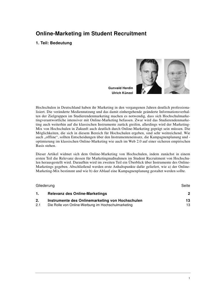 Online-Marketing im Student Recruitment1. Teil: Bedeutung                                              Gunvald Herdin     ...