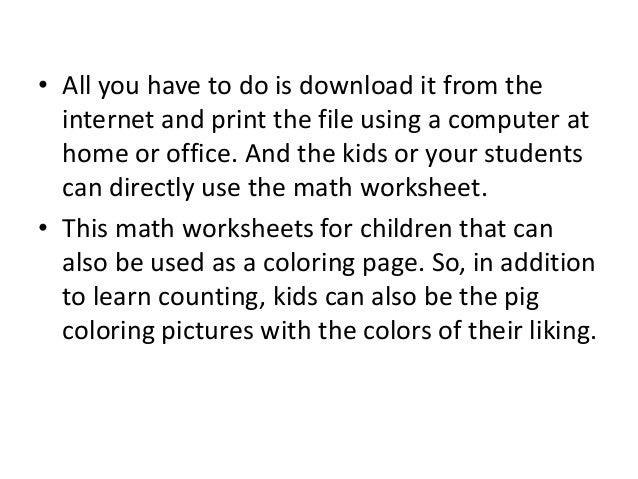 math worksheet : free online math worksheets for kids with 4 pigs : Free Online Math Worksheets