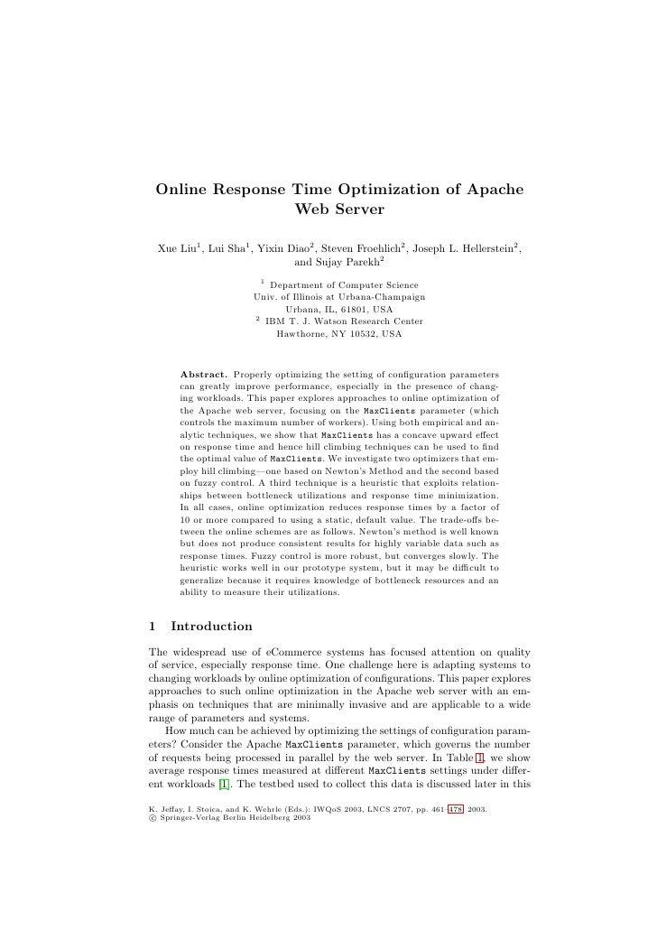 Online Response Time Optimization of Apache Web Server