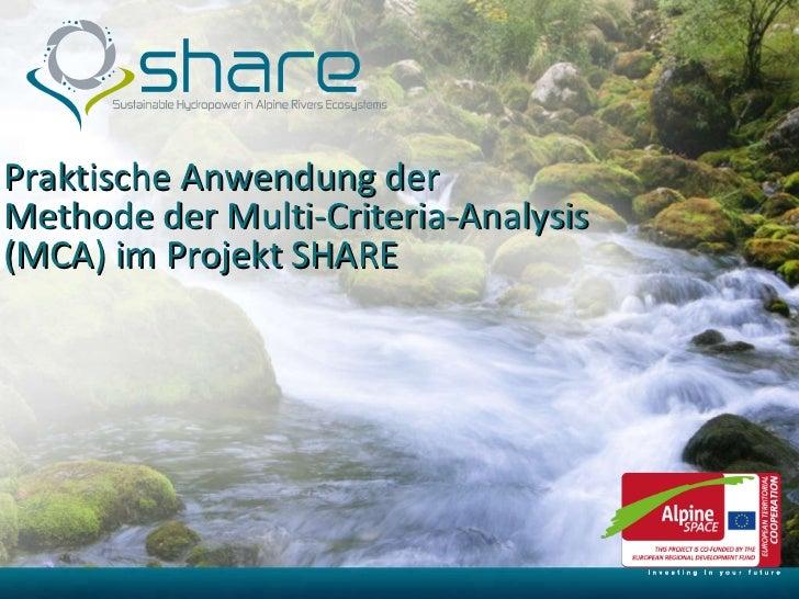 Praktische Anwendung der Methode der Multi-Criteria-Analysis (MCA) im Projekt SHARE