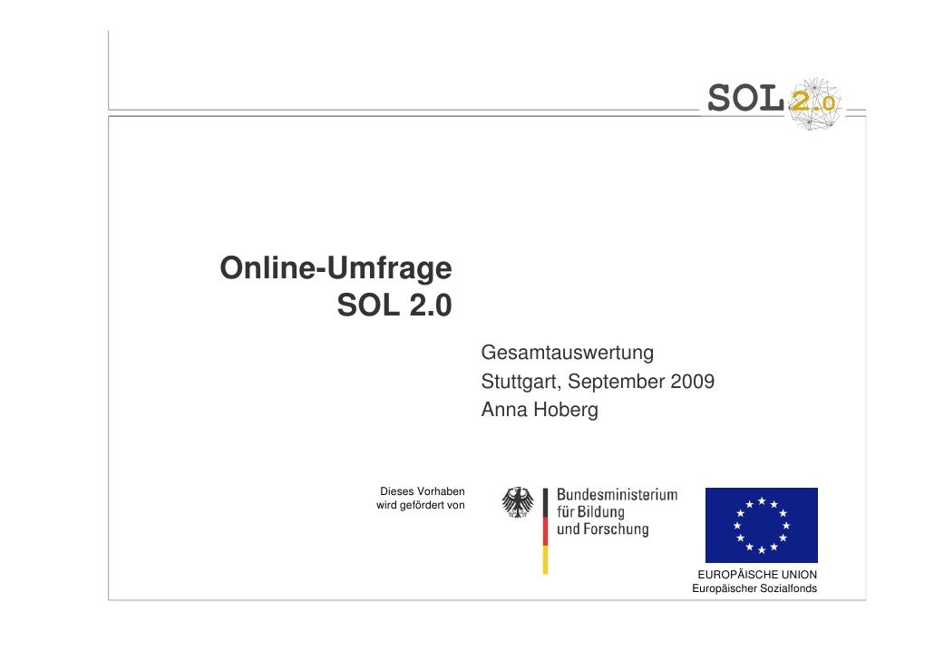 Online-Umfrage       SOL 2.0                              Gesamtauswertung                              Stuttgart, Septemb...