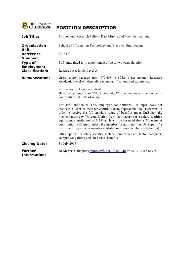 POSITION DESCRIPTION Job Title:        Postdoctoral Research Fellow: Data Mining and Machine Learning  Organisation      S...