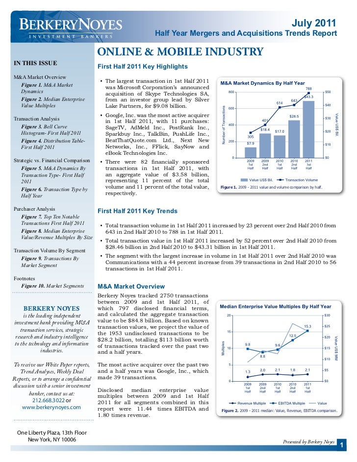 Berkery Noyes - Half Year Mergers and Acquisitions Trends Report - Online & Mobile - July 2011