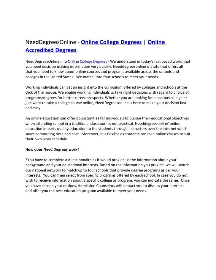 NeedDegreesOnline - Online College Degrees | Online Accredited Degrees NeedDegreesOnline.info Online College Degrees - We ...