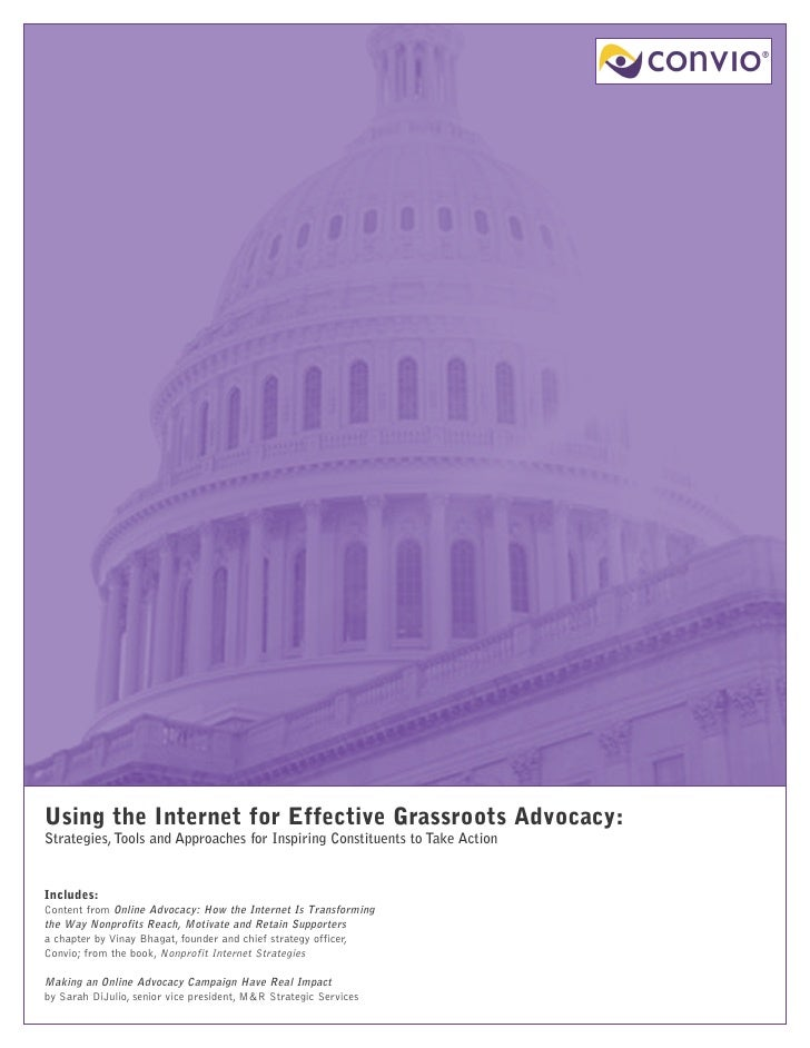 Using the Internet for Effective Grassroots Advocacy: Strategies, Tools and Approaches for Inspiring Constituents to Take ...