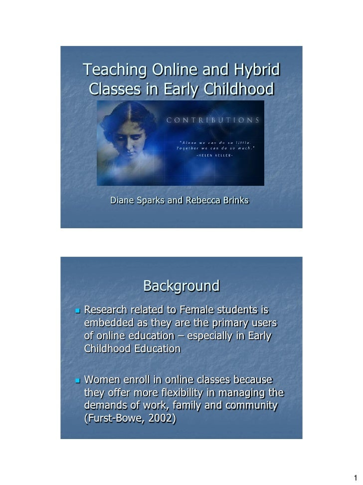 Teaching Online and Hybrid     Classes in Early Childhood         Diane Sparks and Rebecca Brinks                Backgroun...