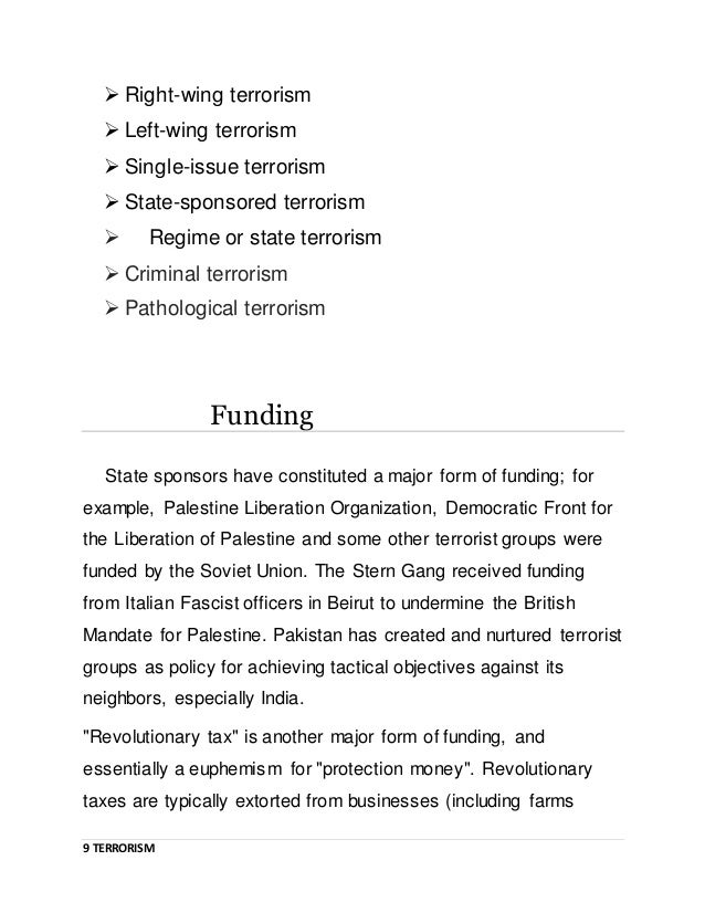 Assignment on terrorism