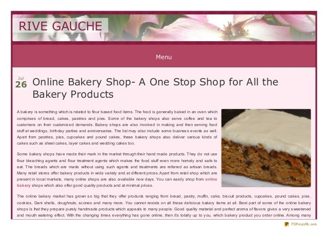 Online Bakery Shop- A One Stop Shop for All the Bakery Products