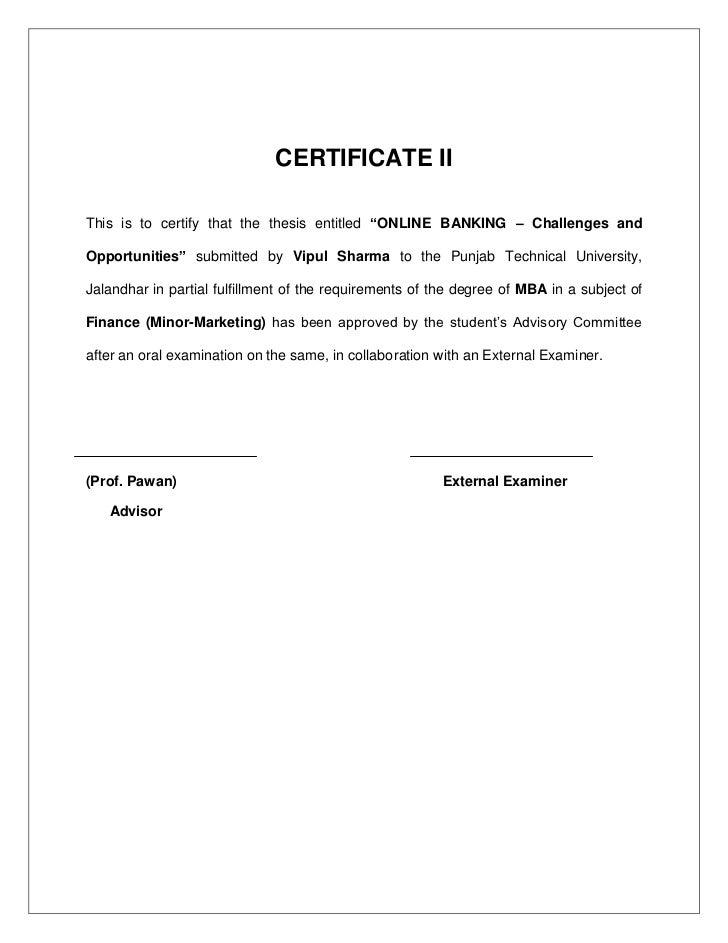 Dissertation on online banking